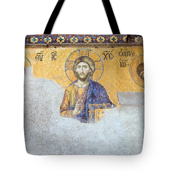 Deesis Mosaic Of Jesus Christ Tote Bag