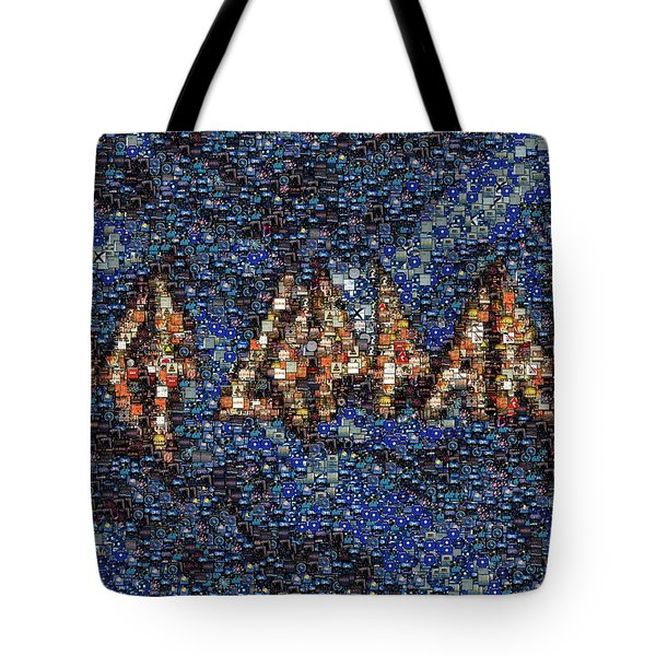 Def Leppard Albums Mosaic Tote Bag by Paul Van Scott