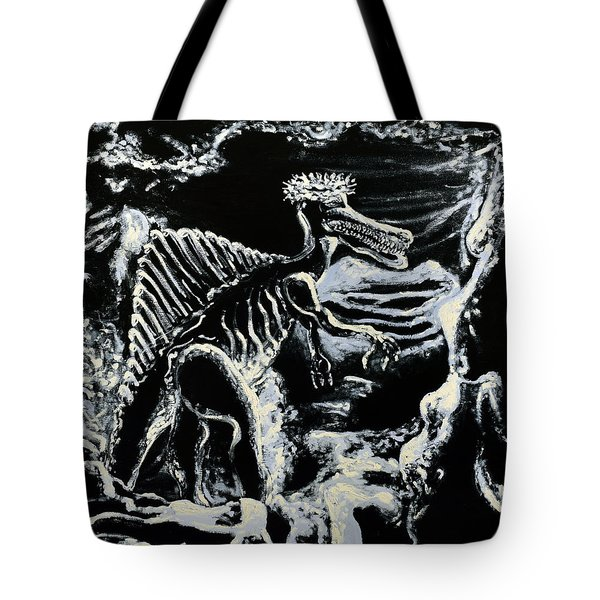 Tote Bag featuring the painting Deinos Sauros    by Ryan Demaree