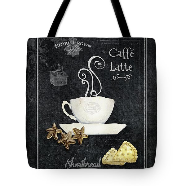Tote Bag featuring the painting Deja Brew Chalkboard Coffee 2 Caffe Latte Shortbread Chocolate Cookies by Audrey Jeanne Roberts