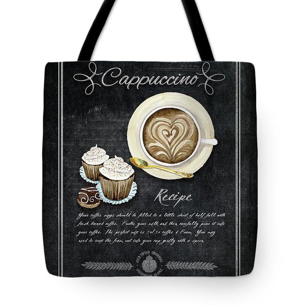 Tote Bag featuring the painting Deja Brew Chalkboard Coffee 3 Cappuccino Cupcakes Chocolate Recipe  by Audrey Jeanne Roberts