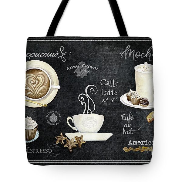 Tote Bag featuring the painting Deja Brew Chalkboard Coffee Cappuccino Mocha Caffe Latte by Audrey Jeanne Roberts
