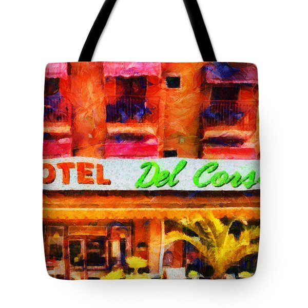 Tote Bag featuring the painting Del Corso by Sir Josef - Social Critic - ART