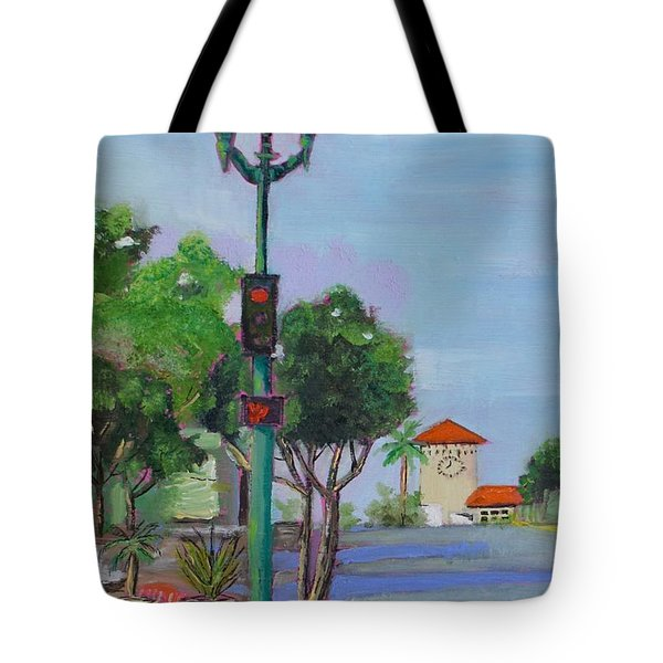Tote Bag featuring the painting Del Mar And Ole Vista by Mary Scott