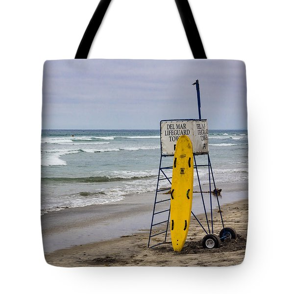 Tote Bag featuring the photograph Del Mar Lifeguard Tower by Randy Bayne