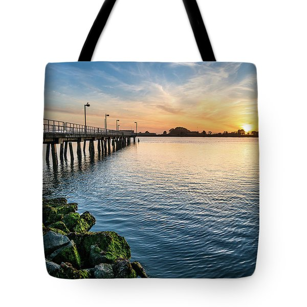 Tote Bag featuring the photograph Del Norte Pier And Spring Sunset by Greg Nyquist