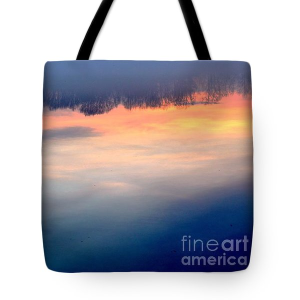 Delaware River Abstract Reflections Foggy Sunrise Nature Art Tote Bag