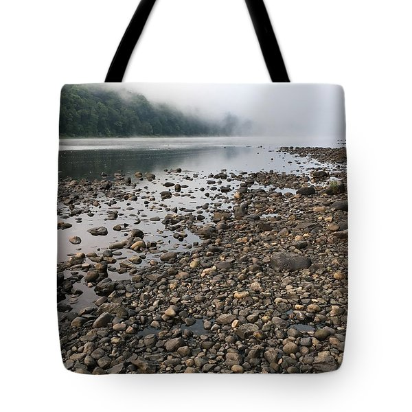 Tote Bag featuring the photograph Delaware River Mist by Helen Harris