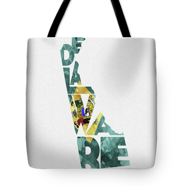 Delaware Typographic Map Flag Tote Bag
