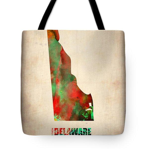Delaware Watercolor Map Tote Bag by Naxart Studio