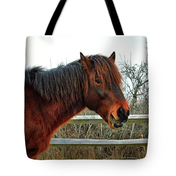 Tote Bag featuring the photograph Delegate's Pride Aka Chip by Assateague Pony Photography