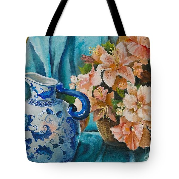 Delft Pitcher With Flowers Tote Bag by Marlene Book