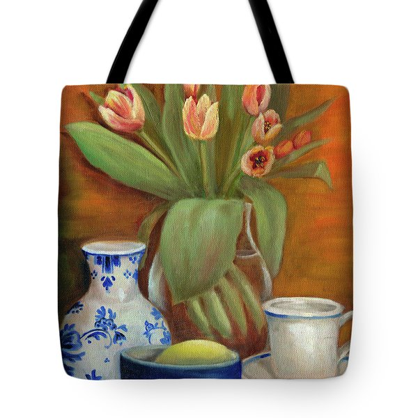 Delft Vase And Mini Tulips Tote Bag
