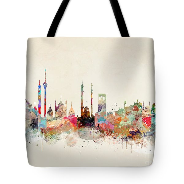 Tote Bag featuring the painting Delhi City Skyline by Bri B