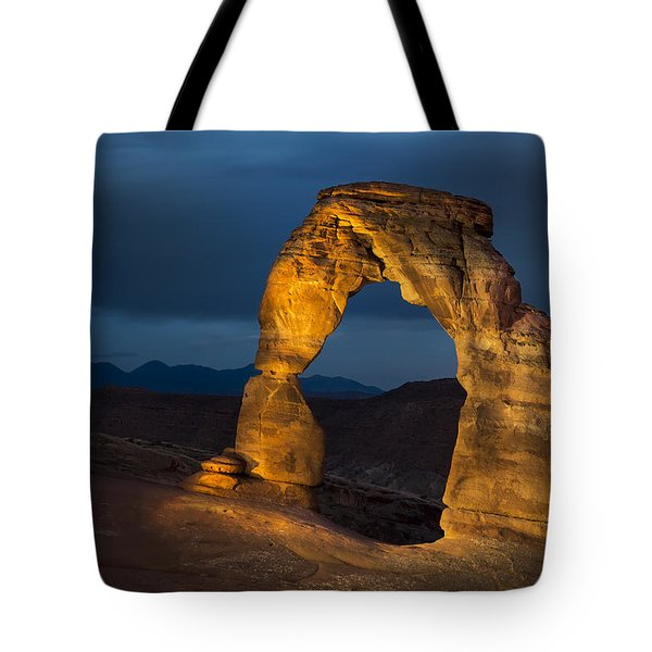 Delicate Arch At Night Tote Bag by Adam Romanowicz