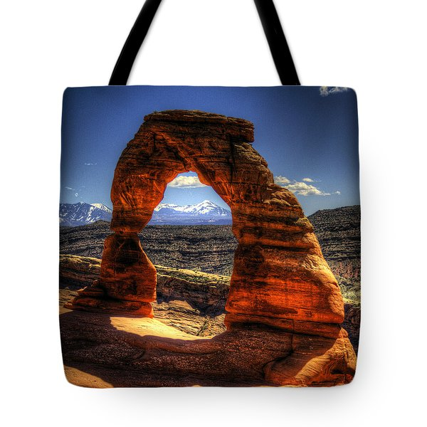 Delicate Arch Framing La Sal Mountains Tote Bag