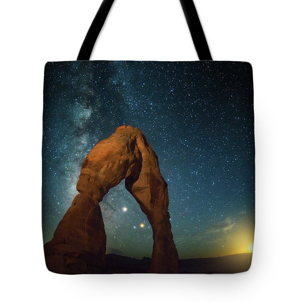 Delicate Arch Moonset Tote Bag