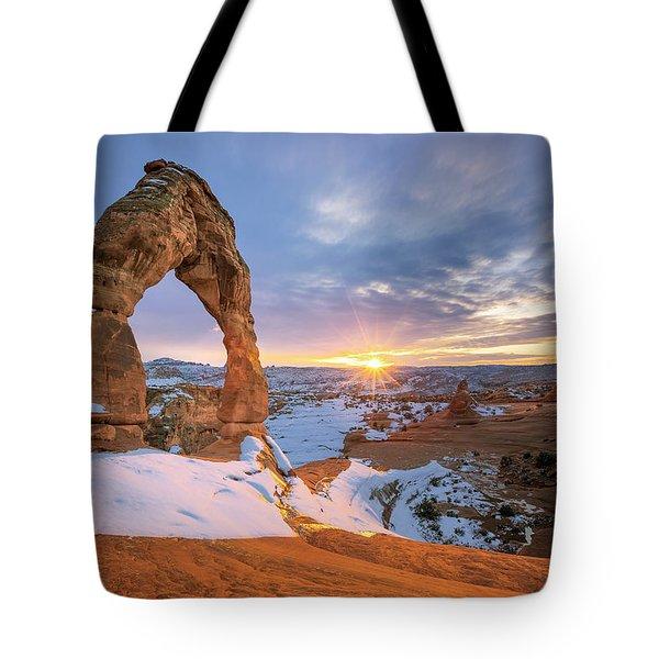 Delicate Arch Winter Tote Bag