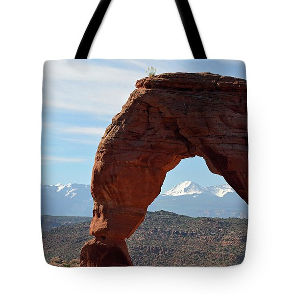 Tote Bag featuring the photograph Delicate Arch With Wispy Clouds by Bruce Gourley