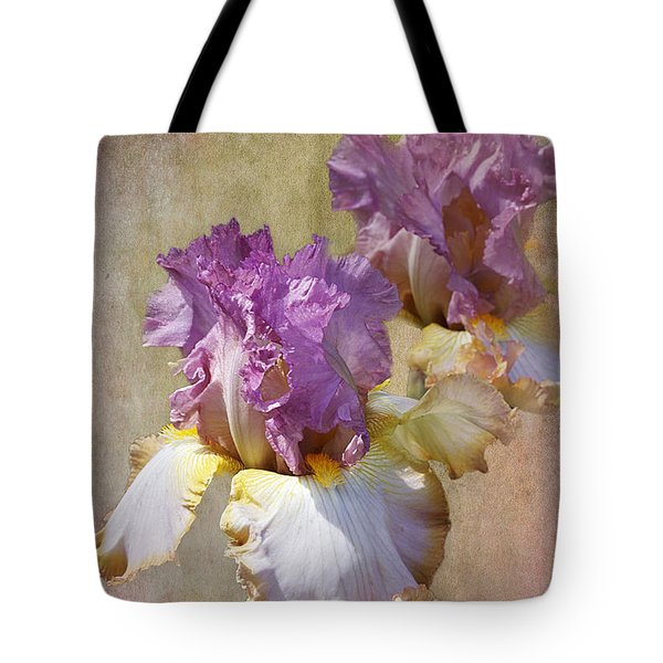 Delicate Gold And Lavender Iris Tote Bag by Phyllis Denton
