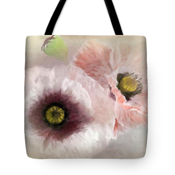 Delicate Pastel Poppies Tote Bag