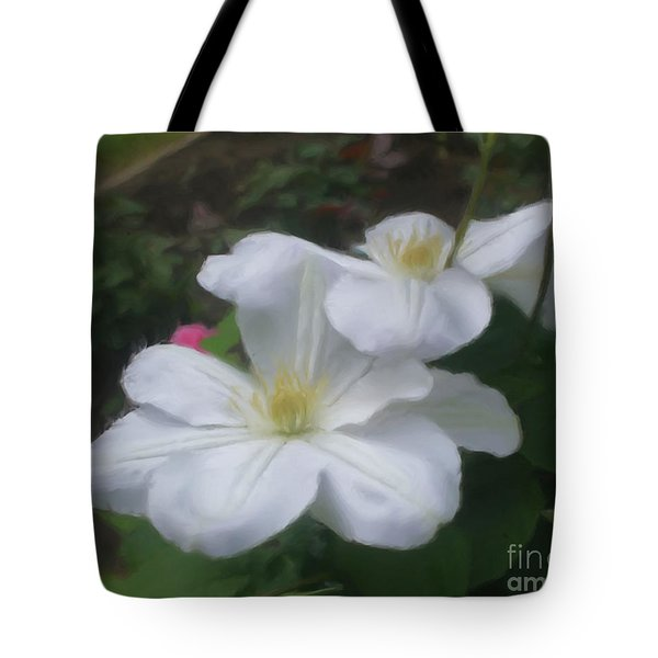 Tote Bag featuring the painting Delicate White Clematis Pair by Smilin Eyes  Treasures