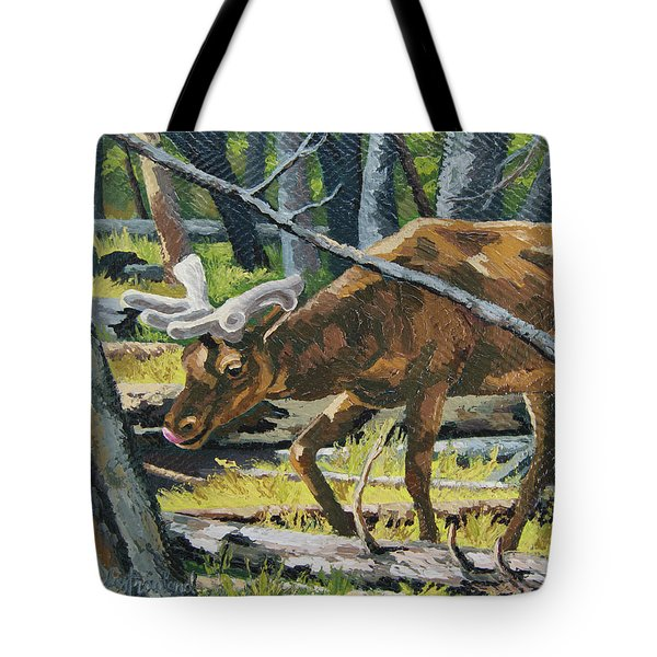 Tote Bag featuring the painting Delicious Greens, Yellowstone by Erin Fickert-Rowland
