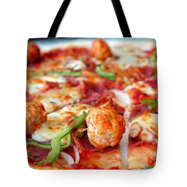 Tote Bag featuring the photograph Delicious Pizza With Meatballs And Salami by Yali Shi