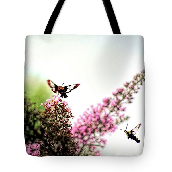 Tote Bag featuring the photograph Delight And Joy - Hummingbird Moths In Flight by Kerri Farley