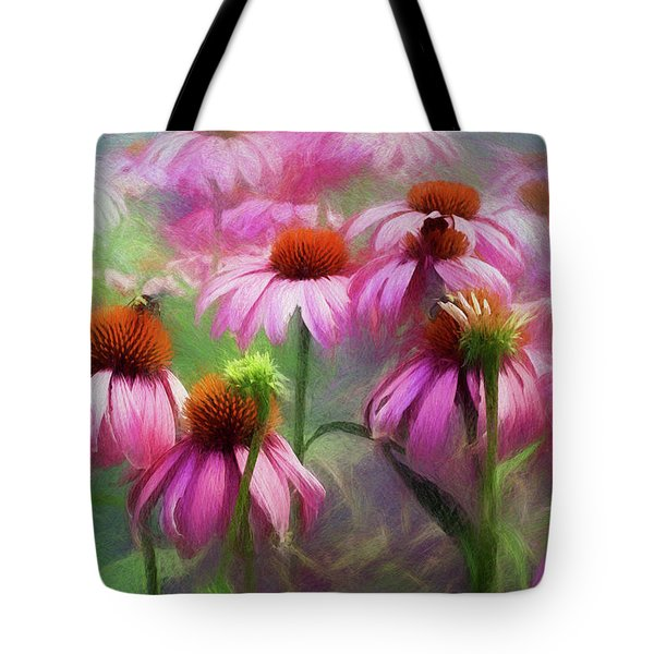 Tote Bag featuring the digital art Delightful Coneflowers by Diane Schuster