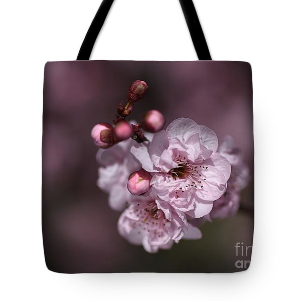 Delightful Pink Prunus Flowers Tote Bag