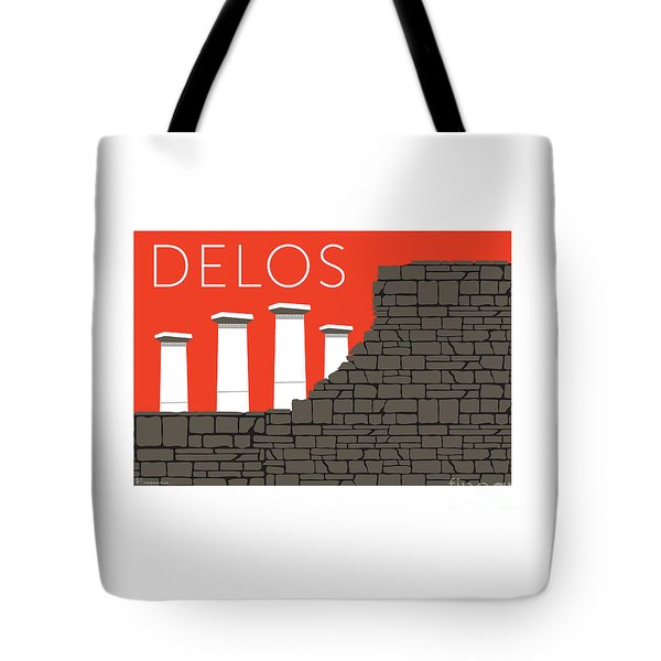 Tote Bag featuring the digital art Delos - Orange by Sam Brennan