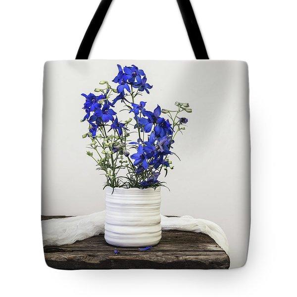 Tote Bag featuring the photograph Delphinium Blue by Kim Hojnacki