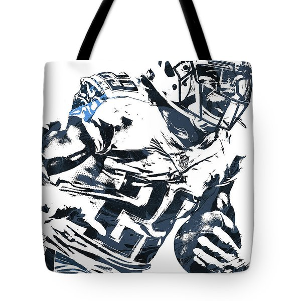 Tote Bag featuring the mixed media Demarco Murray Tennessee Titans Pixel Art 2 by Joe Hamilton