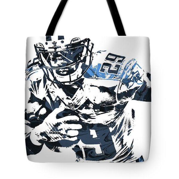Tote Bag featuring the mixed media Demarco Murray Tennessee Titans Pixel Art by Joe Hamilton