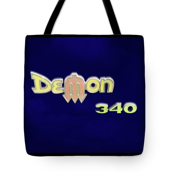 Tote Bag featuring the photograph Demon 340 Emblem by Mike McGlothlen