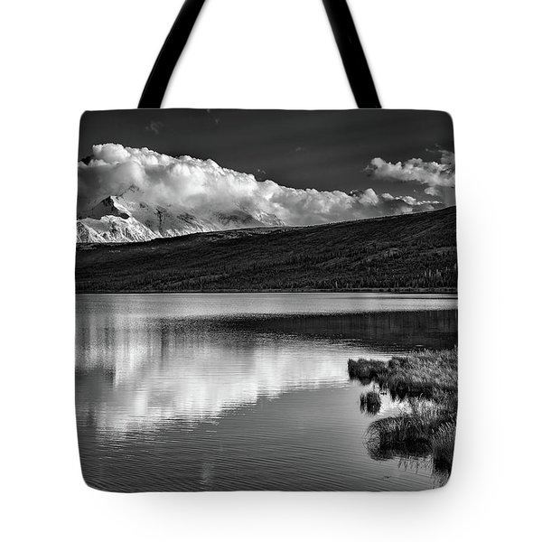 Denali Reflections In Black And White Tote Bag