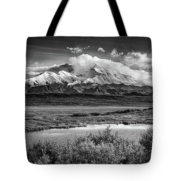 Denali, The High One In Black And White Tote Bag