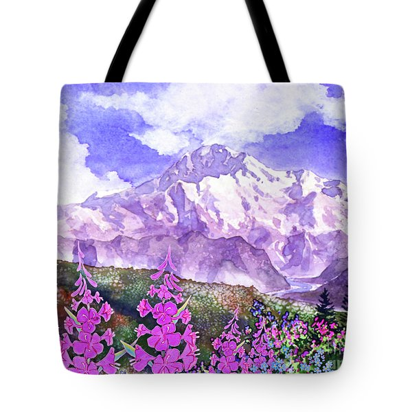 Denali With Fireweed Tote Bag