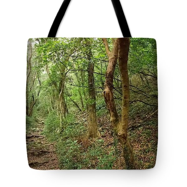 Dense Green Forest With A Rugged Trail Tote Bag by Yali Shi