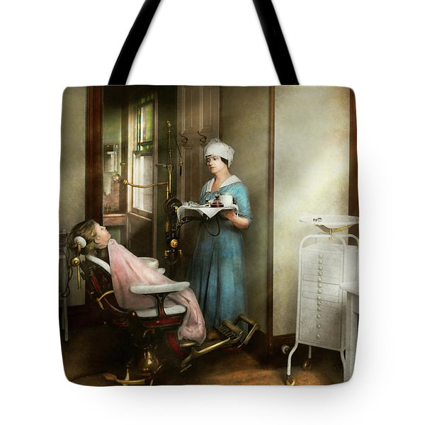 Tote Bag featuring the photograph Dentist - Patients Is A Virtue 1920 by Mike Savad