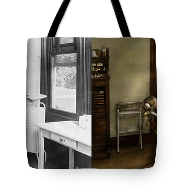 Tote Bag featuring the photograph Dentist - Patients Is A Virtue 1920 - Side By Side by Mike Savad