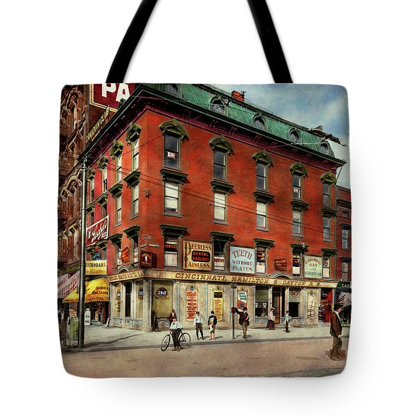 Tote Bag featuring the photograph Dentist - Peerless Painless Dental Parlors 1910 by Mike Savad