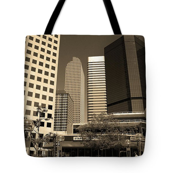 Tote Bag featuring the photograph Denver Architecture Sepia by Frank Romeo