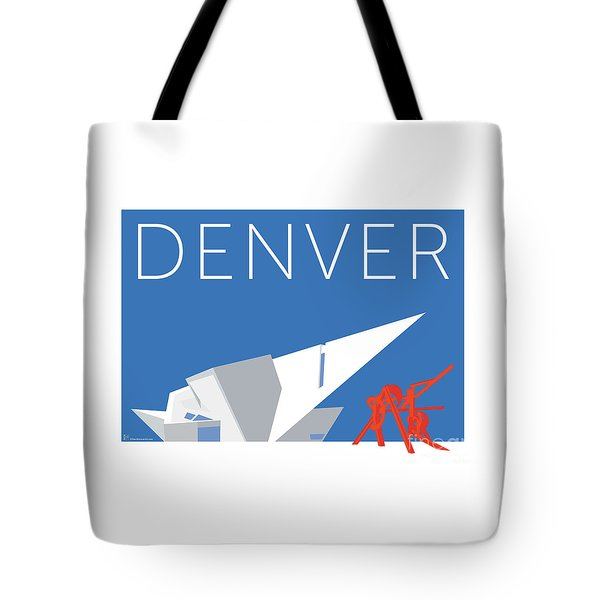 Tote Bag featuring the digital art Denver Art Museum/blue by Sam Brennan