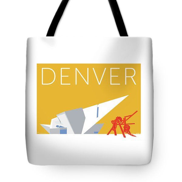 Tote Bag featuring the digital art Denver Art Museum/gold by Sam Brennan