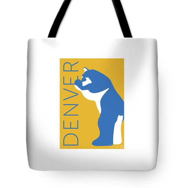Tote Bag featuring the digital art Denver Blue Bear/gold by Sam Brennan
