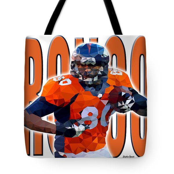 Tote Bag featuring the digital art Denver Broncos by Stephen Younts