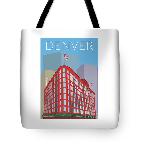 Tote Bag featuring the digital art Denver Brown Palace/blue by Sam Brennan