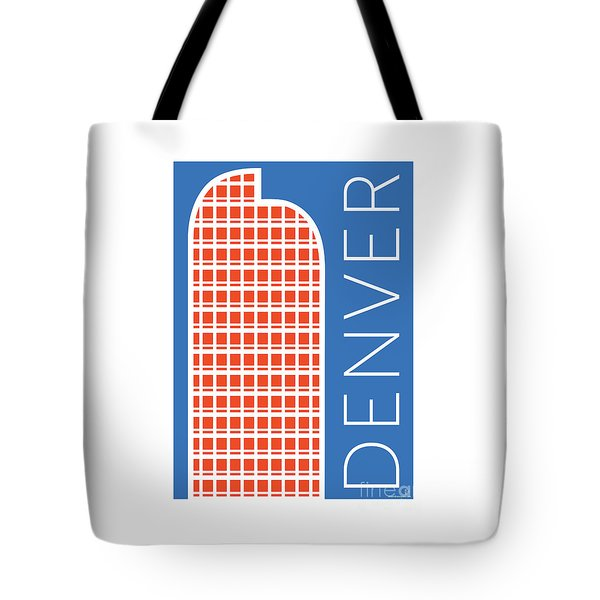 Tote Bag featuring the digital art Denver Cash Register Bldg/blue by Sam Brennan